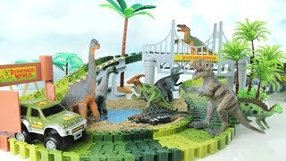 Dinosaur World Playset! Learn Names of Dinosaurs For Kids. Jurassic World Dino T-Rex Toys~ 공룡 트랙 놀이