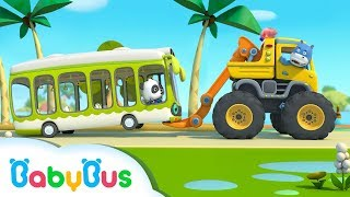 Monster Truck Rescue Bus | 3D Animation For Babies | BabyBus