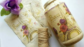 DOLLAR TREE DIY SHABBY CHIC | UPCYCLED COFFEE CONTAINER | DECOUPAGE MOD PODGE CRAFTS