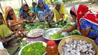 Fishing & Cooking - Mixed Carp Fish & Vegetables Curry Prepared By Women & Fish Catching By Men