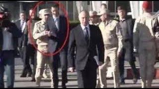 ضابط روسي يهين بشار الأسد أمام بوتين فيديو مهين.. هكذا منع بشار الأسد من السير بجانب بوتين
