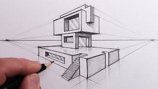 How to Draw a Building in 2-Point Perspective: Step by Steps