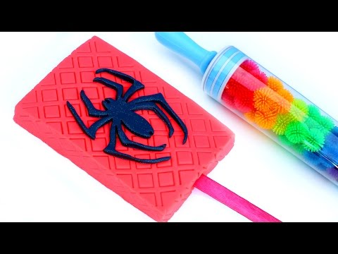 Superhero Spiderman Play Doh Ice Cream Popsicle Rainbow Roller Pin HowTo Modelling Clay