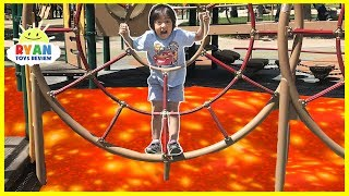 The Floor is Lava Challenge at the Playground Park for Kids! Chase Family Fun Kids Pretend playtime