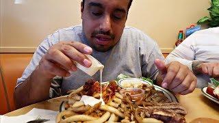 LOADED Baconator Fries + HUGE T-Bone Steak MUKBANG