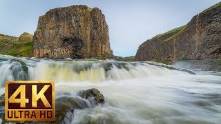 4K Waterfall - 5 Hours Running Water White Noise - Nature Relaxation Video - Palouse Falls