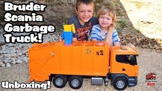 Garbage Truck Videos For Children l Bruder SUPER ORANGE Garbage Truck UNBOXING l Garbage Trucks Rule