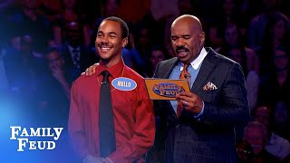 Wow! Watch Mello's awesome $20,000 win! | Family Feud