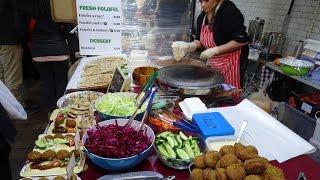 Turkish Street Food: freshly made GOZLEME & FALAFEL WRAPS at Boiler House Market, Brick Lane, London