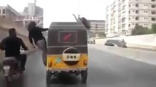 Besharaami ya tallent karachi Girls stunts in rikshaw   YouTube