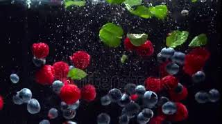 stock footage raspberries blueberries and fresh mint leaves splashing into water on black background