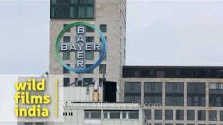 Bayer AG building with spinning logo in Berlin, Germany