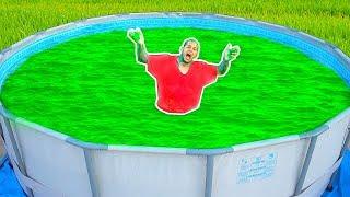 SLIME POOL CHALLENGE!!! GIANT SLIME BATH POOL 10,000 POUNDS!!!