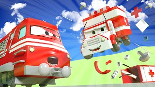 Amber The Ambulance helps the Dump Truck - Troy The Train in Car City 🚄 l Cartoons for Children
