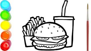 Menggambar Dan Mewarnai Kentang Goreng, Burger Dan Minuman Untuk Anak-anak