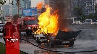 Yeni aldığı otomobil alev alev yandı, gözyaşları içinde izledi