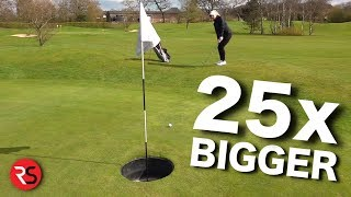 Playing golf with HUGE HOLES!