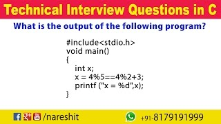 Operators | C Technical Interview Questions and Answers | Mr. Srinivas