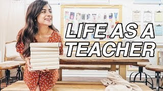 LIFE AS A HIGH SCHOOL TEACHER! waking up, getting organized, + watch me read!