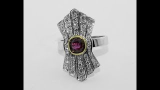 18KT gold ring with ruby and diamonds, handmade, 1950s /60s style