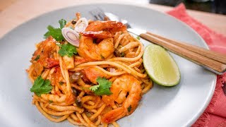 Tom Yum Spaghetti สปาเก็ตตี้ต้มยำกุ้ง | Thai Recipe