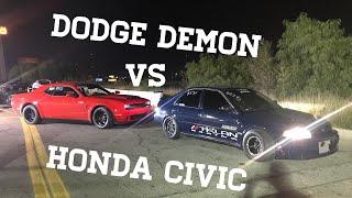 Dodge Demon VS  860HP Honda Civic  (1320 action)