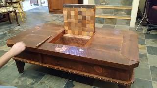 Magic themed hidden compartment coffee table. Wizard coffee table