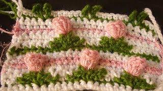 كروشيه غرزة الورد مع الاوراق نمط جديد ثلاثي الابعاد  Crochet pattern Flowers