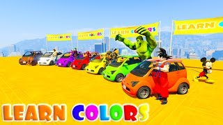 LEARN COLORS SMALL CARS & MOTORCYCLES FUN JUMP with Superheroes 3D Cartoon for kids