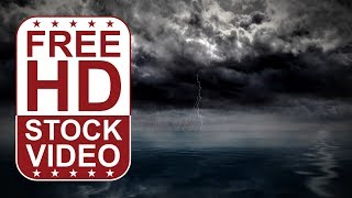 FREE HD video backgrounds - storm clouds over sea with thunders and rain seamless loop 3D animation