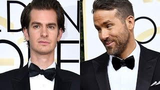 Ryan Reynolds and Andrew Garfield kissing at the Golden Globes 2017