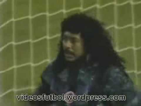 Goalkeeper Higuita does an amazing SAVE