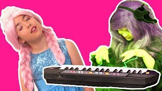 The Hypnotic Magical Piano🎹 Halloween Princesses In Real Life | Kiddyzuzaa