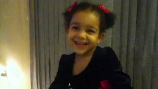 2 year old baby girl says hello in Chinese
