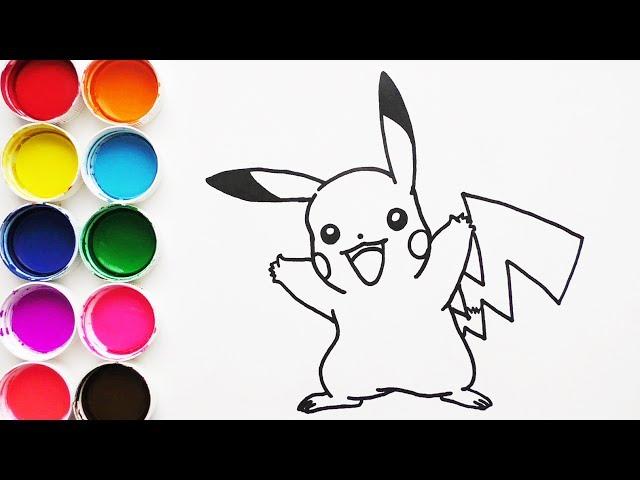 Dibuja y Colorea Pikachu de Pokemon - Dibujos Para Niños - Learn Colors / FunKeep