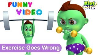 GREENY KIDDO Exercise Goes Wrong   Funny Prank Videos for Children - KidsOne