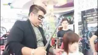 man cuts women's hair with Samurai sword HD