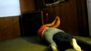 My boyfriend and I wrestling.