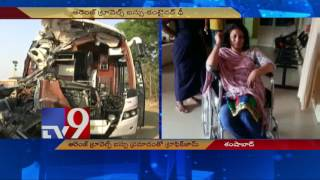 Orange Travels Bus meets with accident, jams traffic - TV9