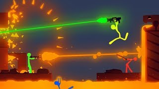 NEW LAVA Laser Ray & Volcano LEVEL Update in Stick Fight! (Stick Fight Multiplayer Gameplay)