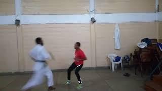 Crazy karate fight in Dojo