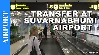 Suvarnabhumi Airport in Bangkok - transit walk to Bangkok Airways connection flight to Koh Samui