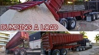 Tipping a Dump Trailer - Huge Load Of Aggregate