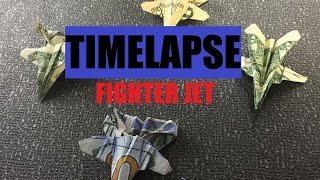Origami Fighter Jet Plane Time Lapse Dollar in 60 seconds
