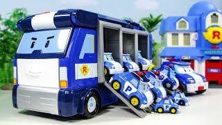 로보카폴리 이동기지 트럭 컨테이너 박스 찾기 폴리 총출동 변신 장난감 동영상