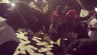 Atlanta Rapper Big Bank Black Makes It Rain Outside of Strip Club Blue Flame Atlanta!! (RAW FOOTAGE)
