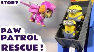 Paw Patrol fly to rescue Minions who get stuck playing Pokemon Go | Family fun toy story for kids