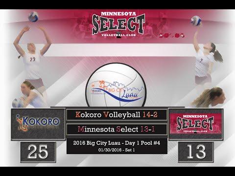 2015-16 MN Select 13-1 Volleyball vs Kokoro 14-2 Set 1 - 1/30/2016