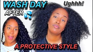 WASH DAY AFTER A PROTECTIVE STYLE! | CHILD, THESE TWISTS JACKED MY HAIR UP!!
