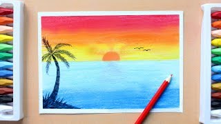 Sunset Scenery Drawing With Oil Pastel : Speed Drawing Sunset